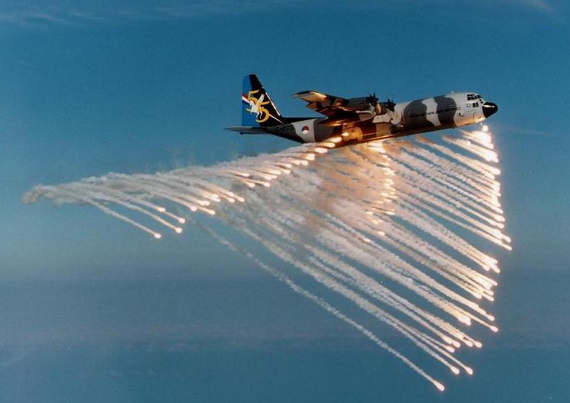 royal netherlands air force ac 130 hercules deploying flares