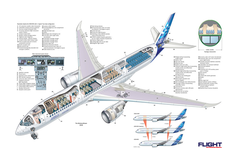 Airbus A350 Widebody Aircraft Schematic