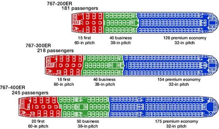 boeing 767 seating charts