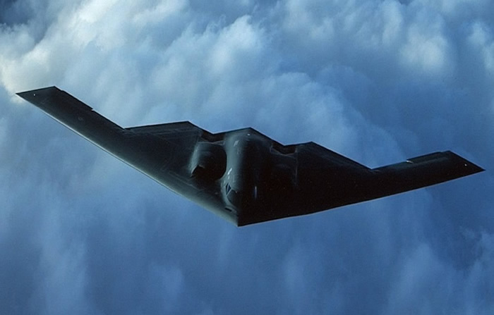Stealth bomber top view