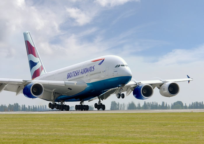 Artists rendition of a British Airways Airbus A380