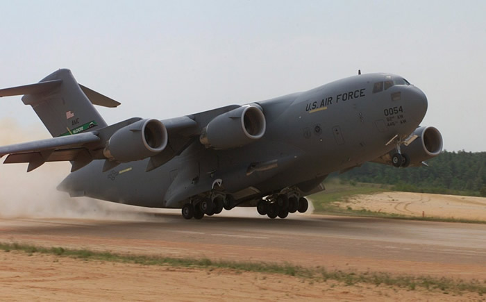 C17 Cargo Air Force Plane Takes Off On Short runway