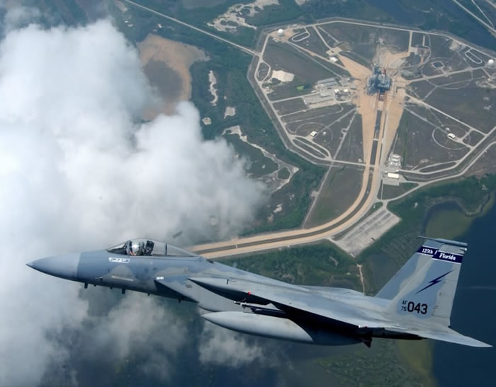 F-15 Eagle Flys Over Kennedy Space Nasa Center