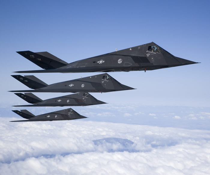 Multiple F-117 Stealth Nighthawks In Flight