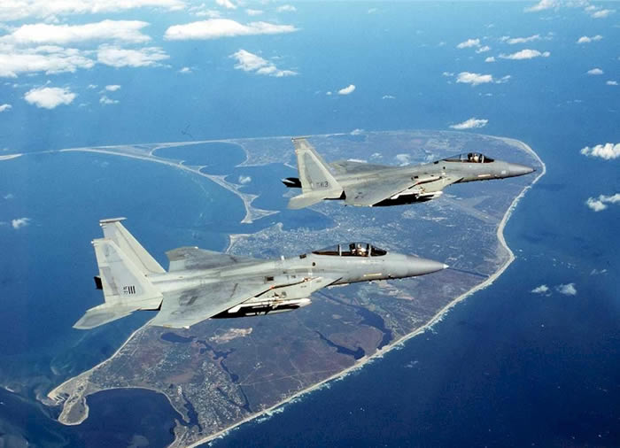 F-15s In Flight Over Florida. The F-15 Multistage Improvement Program was