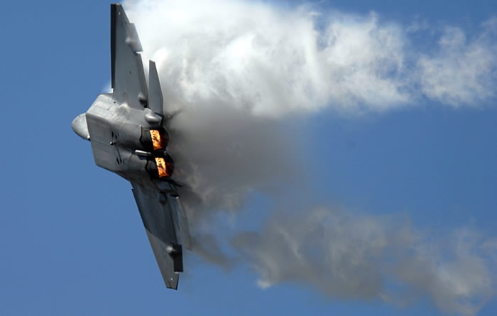 F-22 US Air Force Raptor In Afterburner Turn