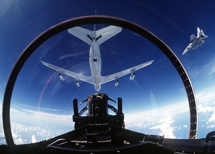 F-15s aerial refueling from a KC-135