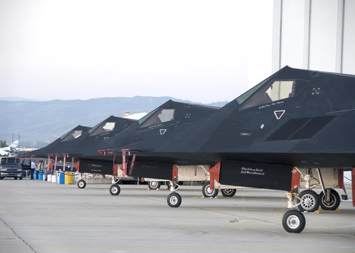 F-117 Stealth Aircraft On The Tarmac