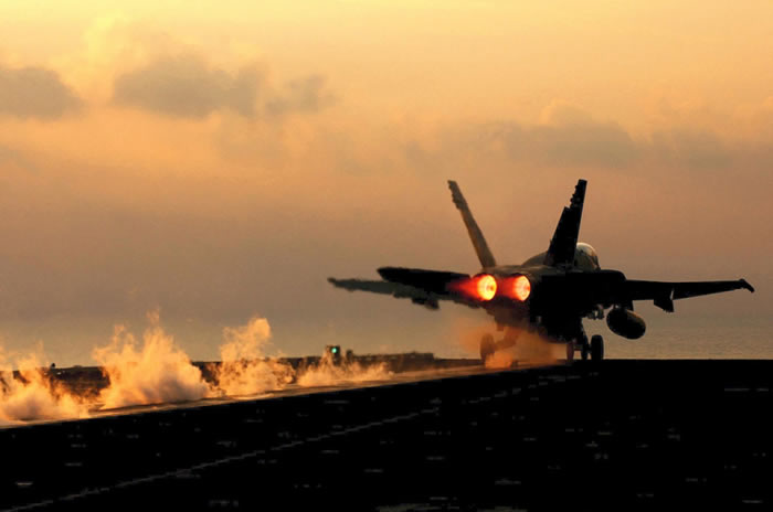 f-18 takeoff from aircraft carrier