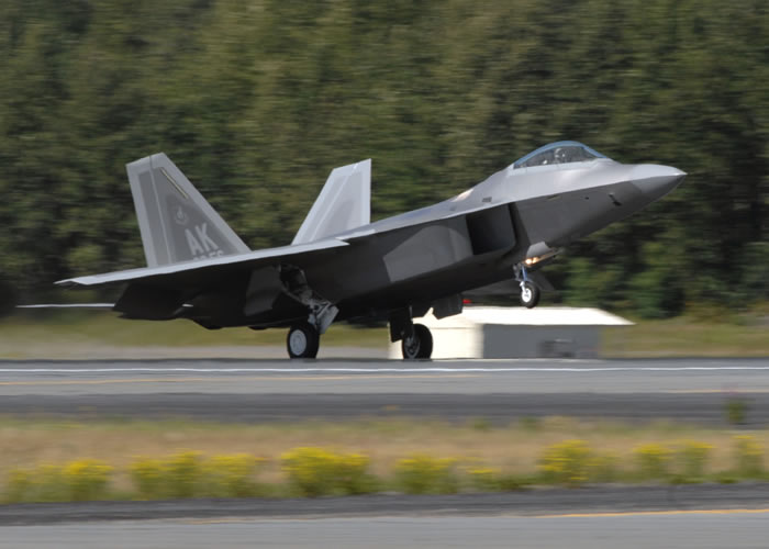 F-22 Raptor Takes Off From Elmendorf Alaska