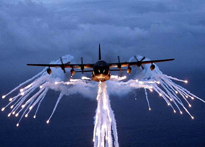 Lockheed C-130 Deploying Flares