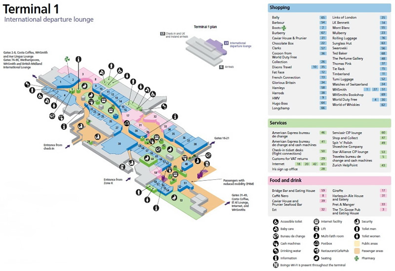 Heathrow International Airport UK Terminal Maps LHR Information and