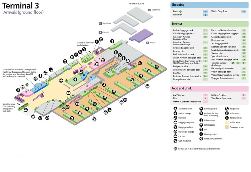Heathrow Terminal 3 Maps - Heathrow Airport Guide