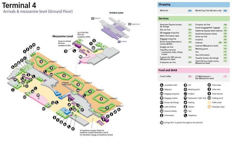 Heathrow International Airport UK Terminal Maps LHR Information
