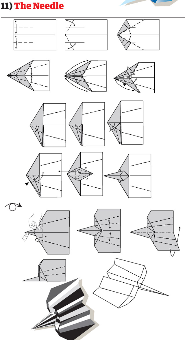 paper aircraft how to fold - the needle