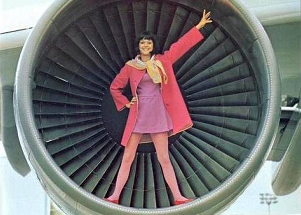 stewardess in an aircraft engine