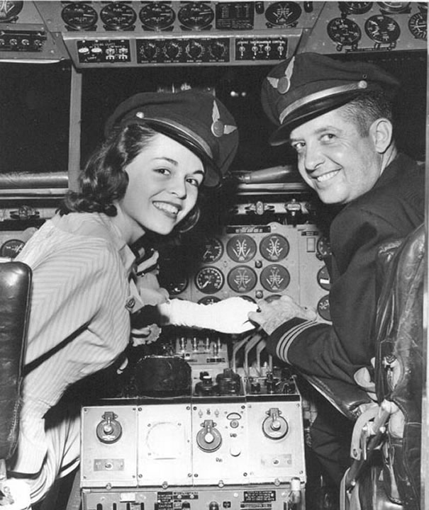 stewardess in cockpit