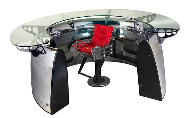 aircraft furniture engine airliner desk with glass top