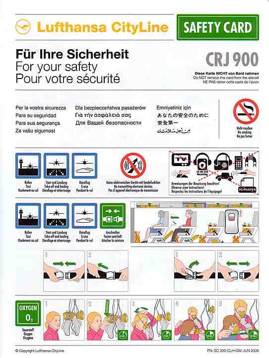 airline safety card for lufthansa cityline crj. Black Bedroom Furniture Sets. Home Design Ideas