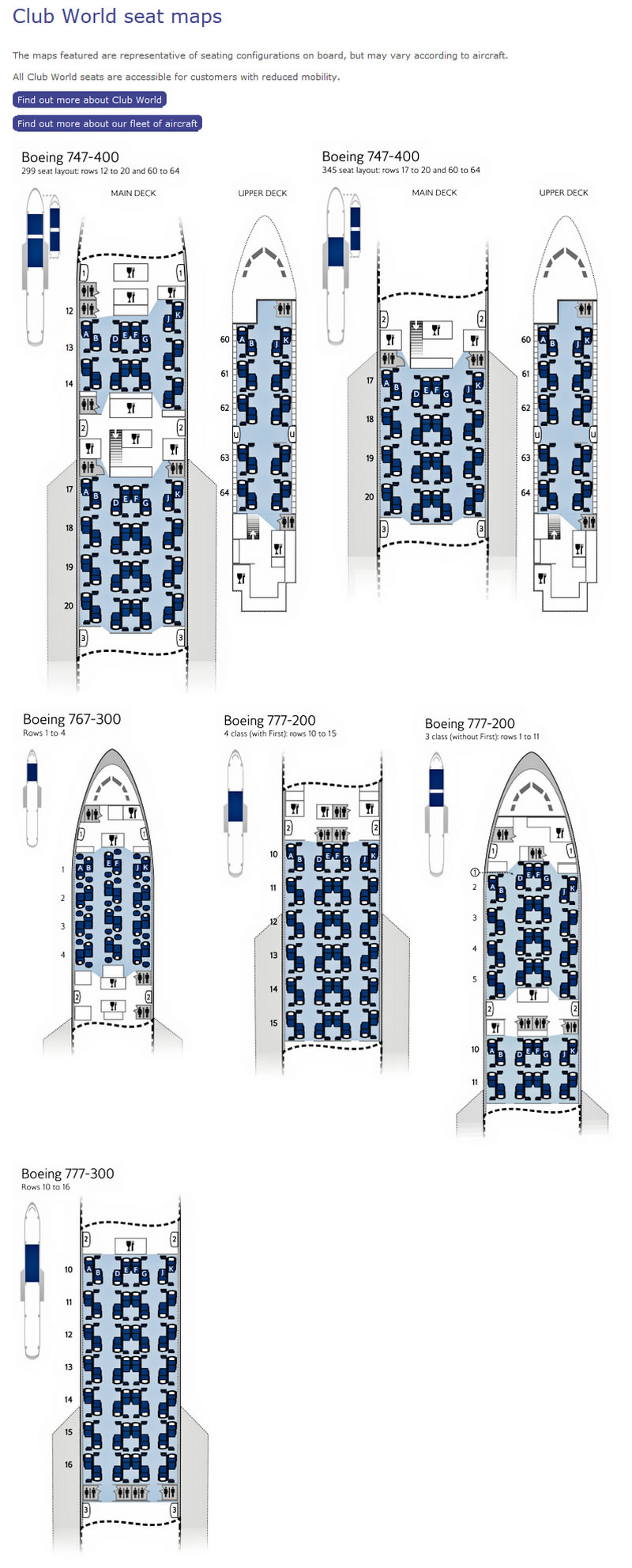 British Airways Airlines Aircraft Seatmaps Airline Seating - Us airways seat map