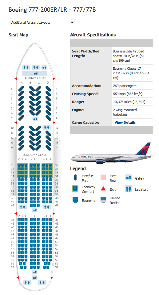 Delta Airlines Aircraft Seatmaps - Airline Seating Maps and Layouts