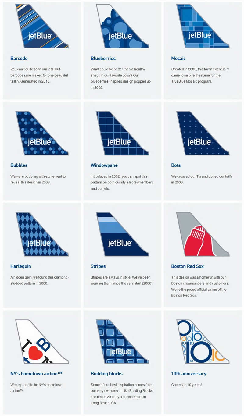 jetBlue airways aircraft tail paintings livery building blocks, 10th anniversary, barcode, blueberries, mosaic, bubbles, windowpane, dots