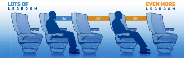 jetblue airways seating on airplanes with better legroom than any other airline