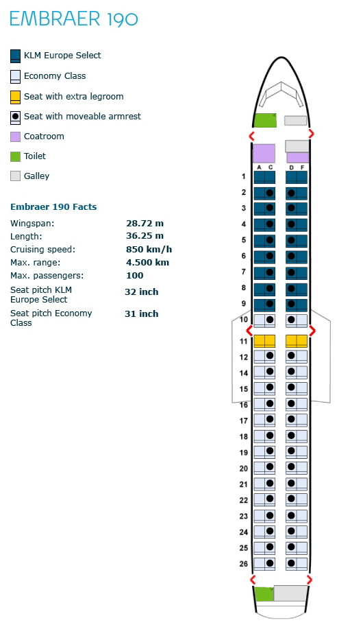 klm royal dutch airlines embraer erj-190 aircraft seating chart