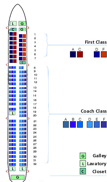 Us Airways Airlines Aircraft Seatmaps Airline Seating Maps And Layouts - Us-airways-center-map