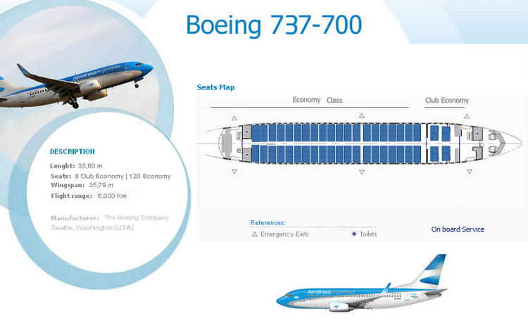 AEROLINEAS ARGENTINA AIRLINES BOEING 737-700 AIRCRAFT SEATING CHART