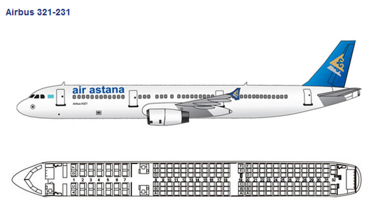 AIR ASTANA AIRLINES AIRBUS A321-200 AIRCRAFT SEATING CHART
