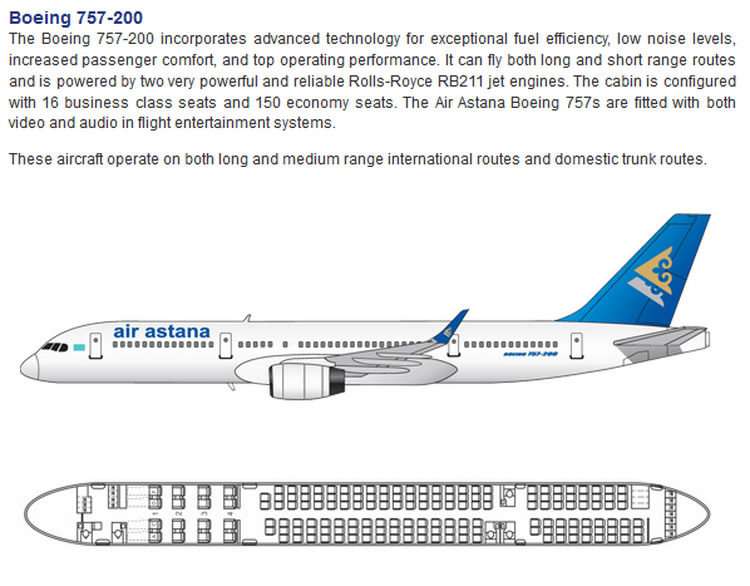 AIR ASTANA AIRLINES BOEING 757-200 AIRCRAFT SEATING CHART