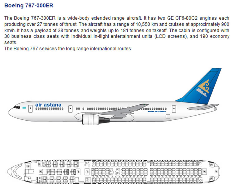 AIR ASTANA AIRLINES BOEING 767-300ER AIRCRAFT SEATING CHART