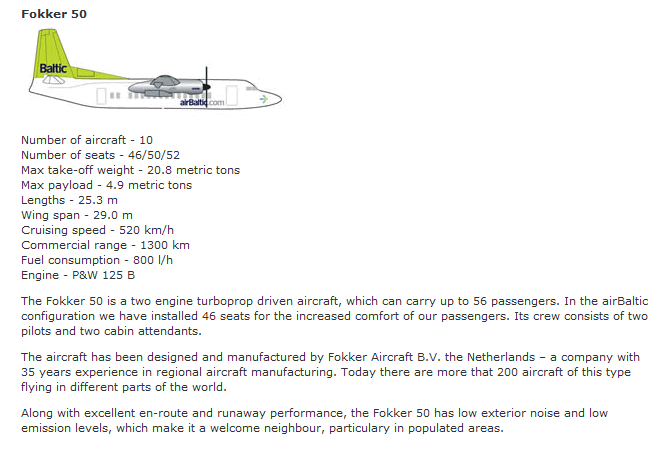 AIR BALTIC AIRLINES FOKKER 50 AIRCRAFT SEATING CHART