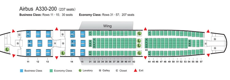 AIR CHINA AIRLINES AIRBUS A330-200 AIRCRAFT SEATING CHART