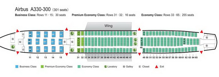 AIR CHINA AIRLINES AIRBUS A330-300 AIRCRAFT SEATING CHART