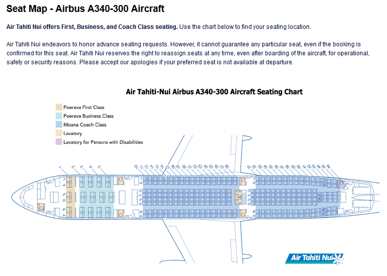AIR TAHITI NUI AIRLINES AIRBUS A340-300 AIRCRAFT SEATING CHART