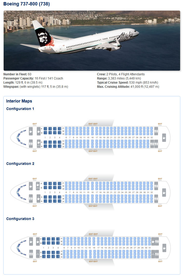 ALASKA AIRLINES BOEING 737-800 AIRCRAFT SEATING CHART