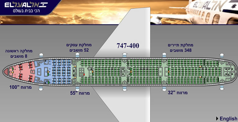 EL AL ISRAEL AIRLINES BOEING 747-400 AIRCRAFT SEATING CHART