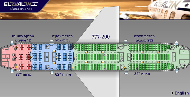EL AL ISRAEL AIRLINES BOEING 777-200 AIRCRAFT SEATING CHART