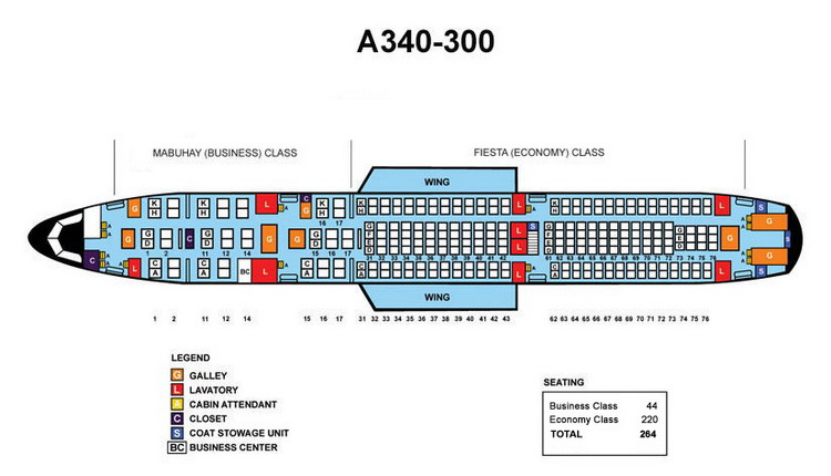 PHILIPPINE AIRLINES AIRBUS A340-300 AIRCRAFT SEATING CHART