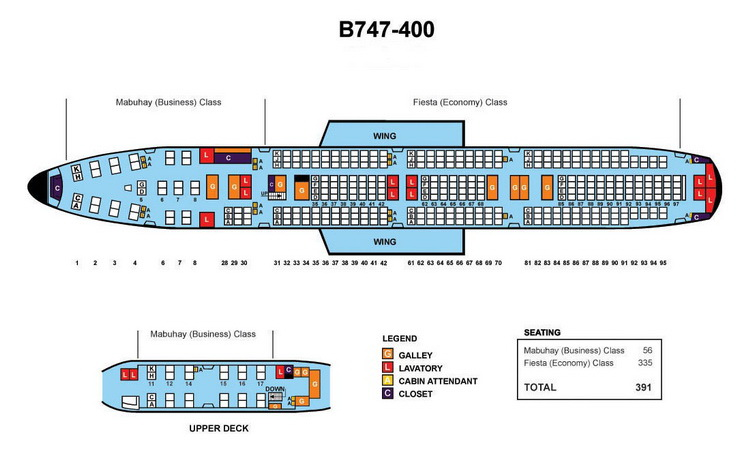 PHILIPPINE Airlines Aircraft Seatmaps   Airline Seating Maps and
