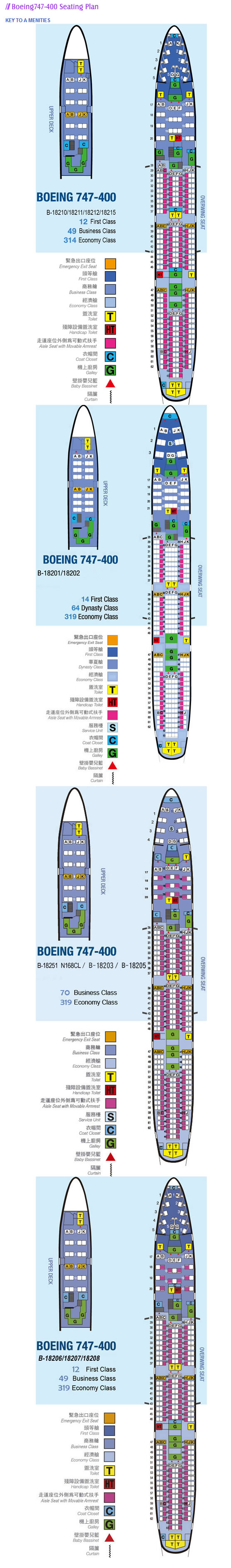 CHINA AIRLINES BOEING 747-400 AIRCRAFT SEATING CHART