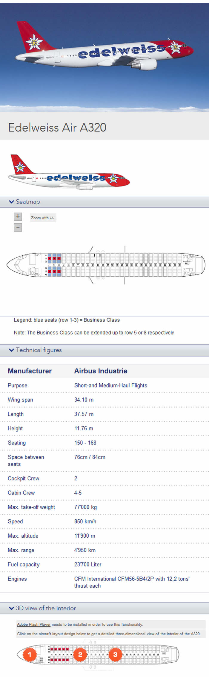 EDELWEISS AIRLINES AIRBUS A320 AIRCRAFT SEATING CHART
