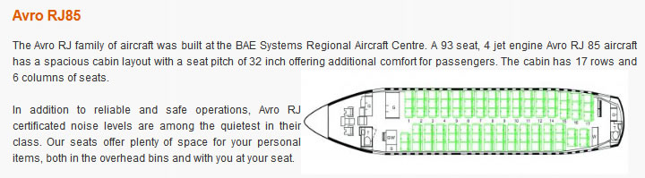 EZNIS AIRWAYS AIRLINES AVRO RJ85 AIRCRAFT SEATING CHART