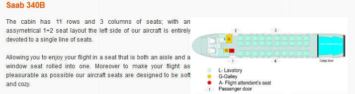 EZNIS AIRWAYS AIRLINES SAAB 340B AIRCRAFT SEATING CHART