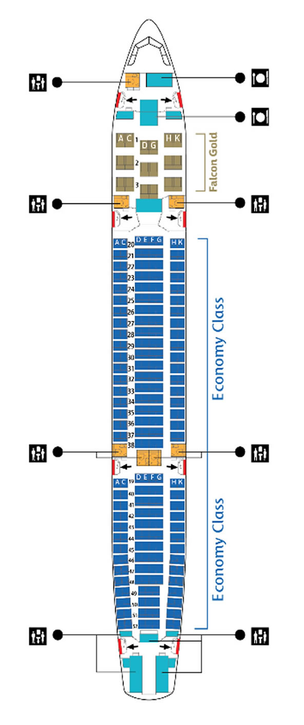 GULF AIR AIRLINES AIRBUS A330-200 AIRCRAFT SEATING CHART