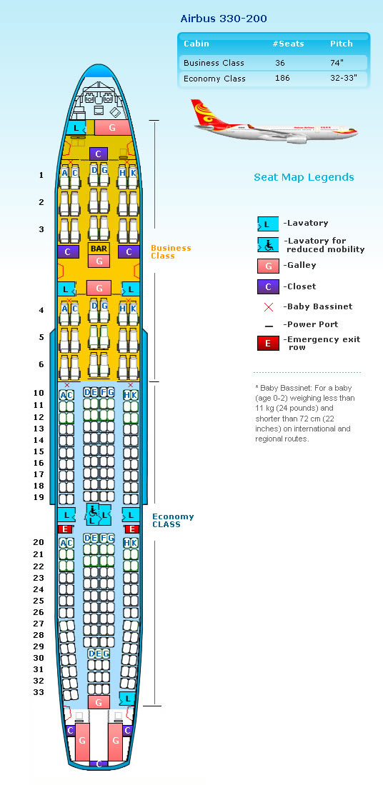HAINAN AIRLINES AIRBUS A330-200 AIRCRAFT SEATING CHART