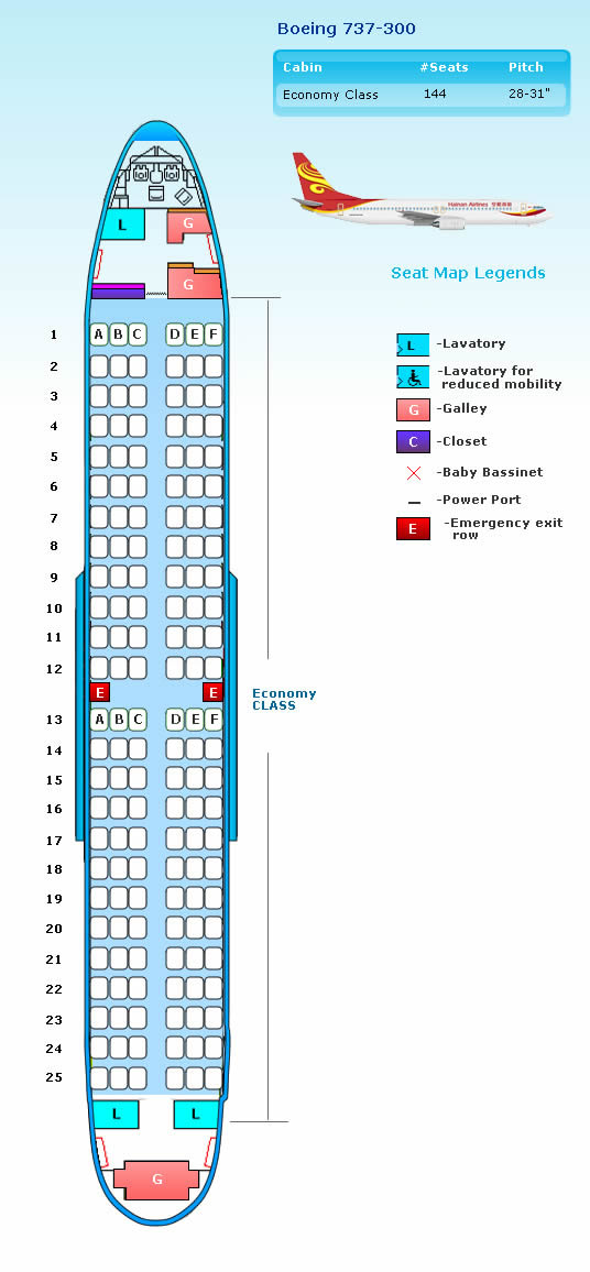 HAINAN AIRLINES BOEING 737-300 AIRCRAFT SEATING CHART