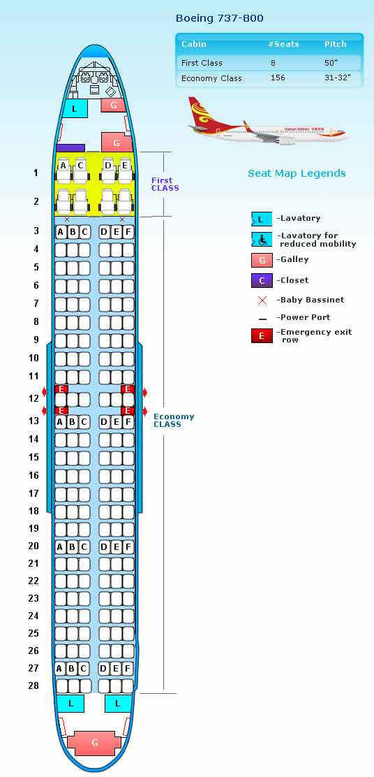 HAINAN AIRLINES BOEING 737-800 AIRCRAFT SEATING CHART